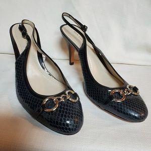 Ann Taylor Navy Snakeprint Slingback Shoe 6 #1339